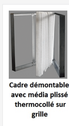 filtre cadre metal rechargeable avec media plisse synthetique
