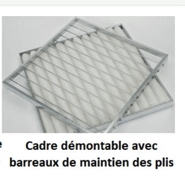 filtre cadre metal barreaux avec media plisse synthetique